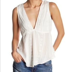 Free People White Embroidered Tie Back Tank